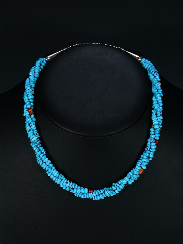 Native American Three Strand Twist Turquoise Spiny Oyster Necklace