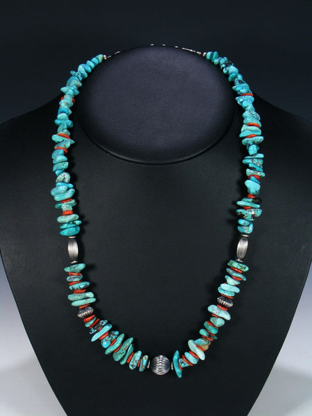 Native American Indian Santo Domingo Turquoise & Coral Necklace