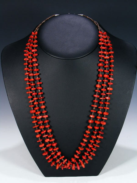 Native American Apple Coral and Heishi Necklace