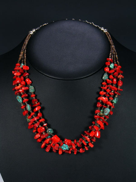 Native American Turquoise and Coral Multi-Strand Necklace