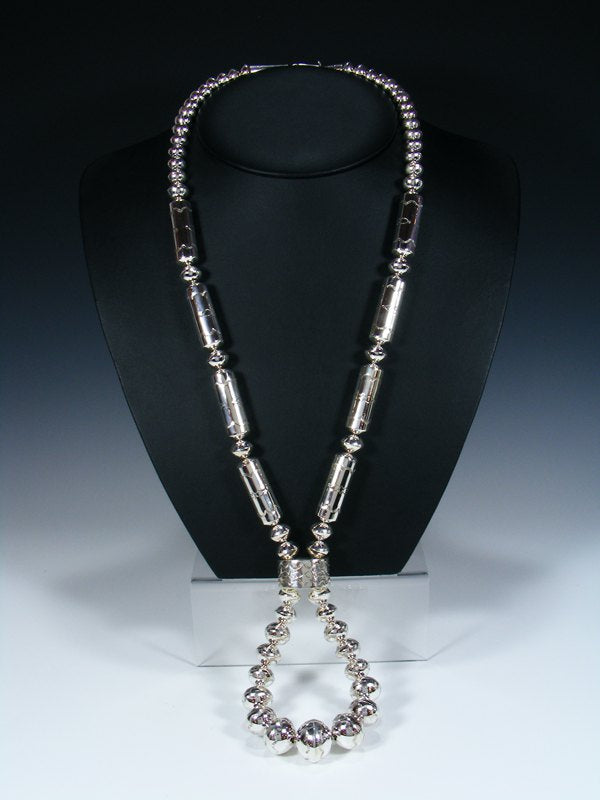 Native American Sterling Silver Navajo Pearl Bead Necklace with Jocla