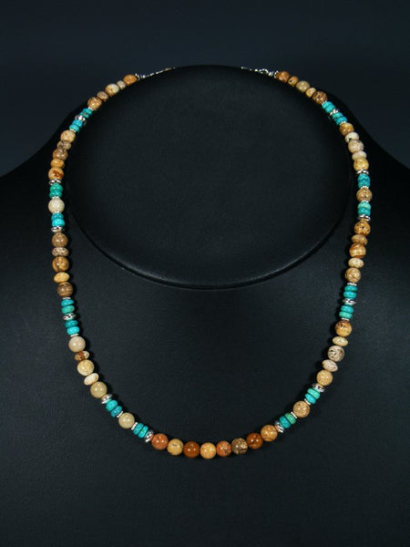 Jasper and Turquoise Single Strand Necklace