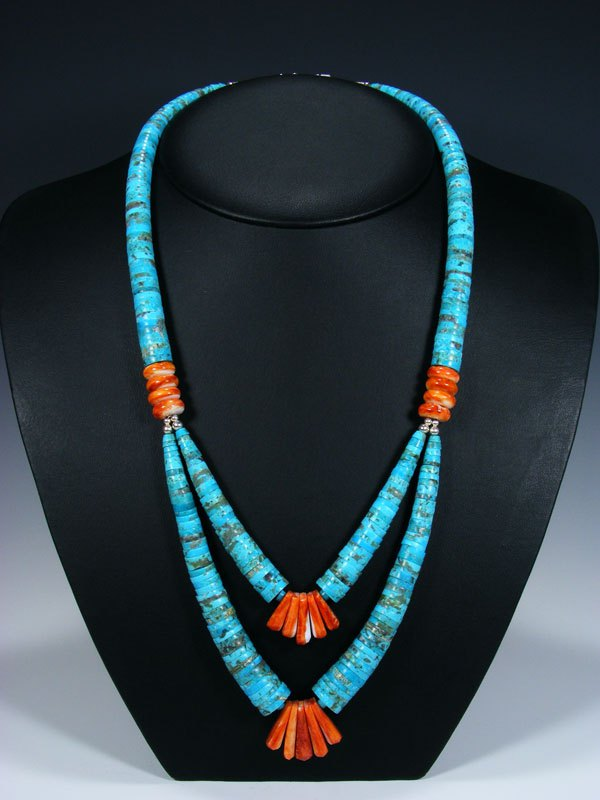 Native American Santo Domingo Multi-Strand Turquoise & Spiny Oyster Necklace