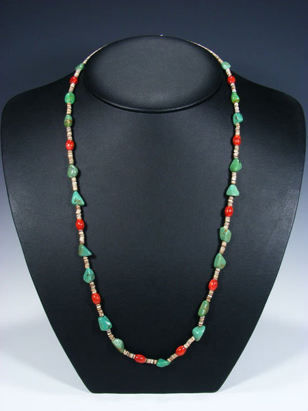 Native American Indian Santo Domingo Single Strand Turquoise and Coral Necklace