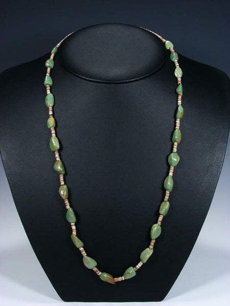 Native American Indian Santo Domingo Single Strand Turquoise and Heishi Necklace