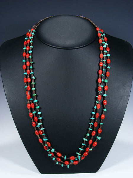 Native American Apple Coral and Turquoise Triple Strand Necklace