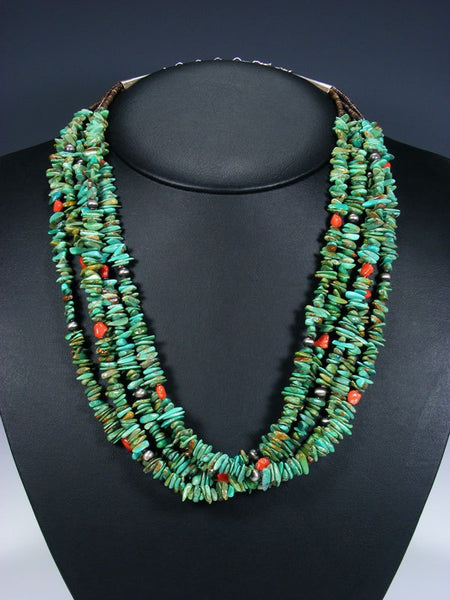Native American Indian Jewelry Turquoise and Coral Necklace