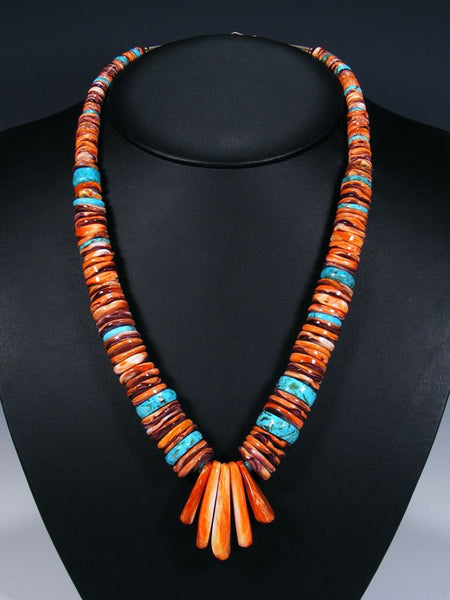 Native American Santo Domingo Red Spiny Oyster and Turquoise Necklace