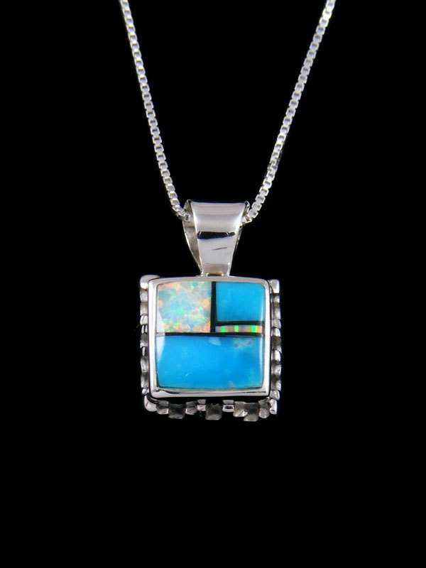 Native American Inlay Turquoise and Opalite Pendant
