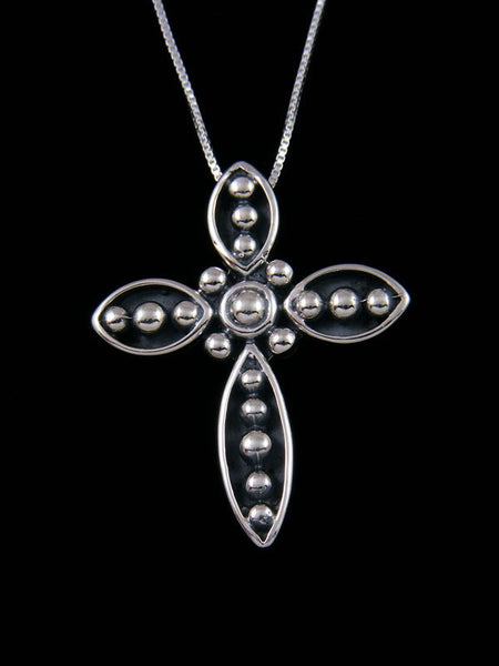 Native American Sterling Silver Navajo Droplet Cross Pendant