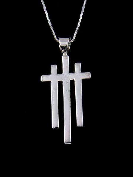 Sterling Silver Triple Navajo Cross Pendant