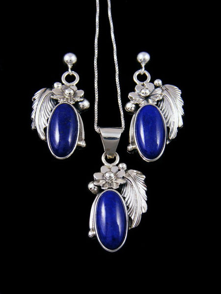 Native American Sterling Silver Lapis Earrings and Necklace Set