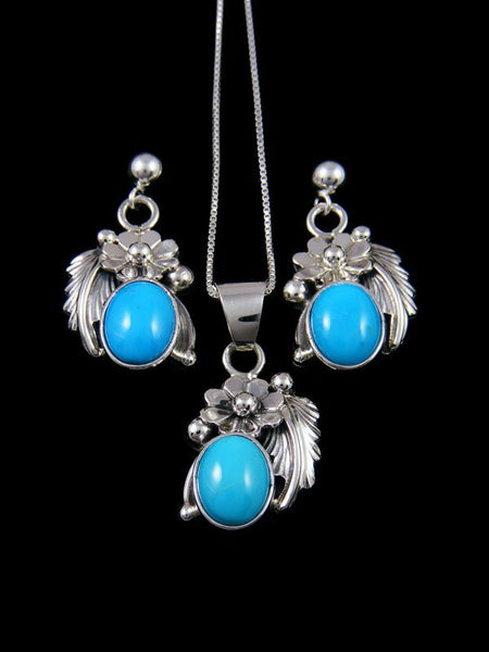 Native American Sterling Silver Turquoise Earrings and Necklace Set