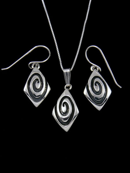 Navajo Sterling Silver Overlay Necklace and Earrings Set