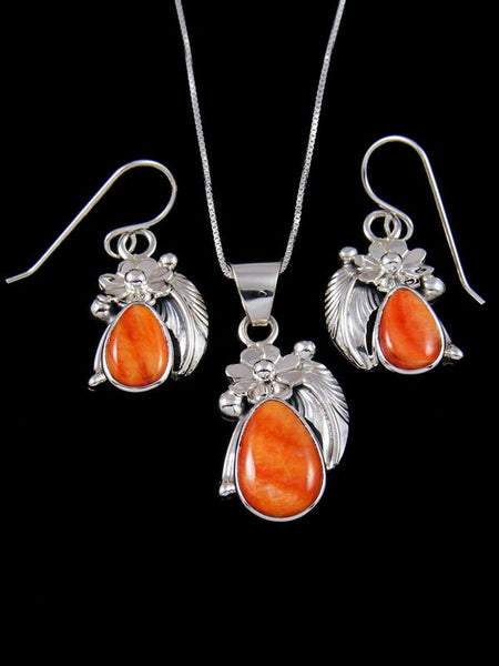Native American Sterling Silver Spiny Oyster Earrings and Necklace Set