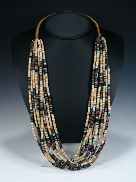 Santo Domingo Ten Strand Shell Heishi Necklace