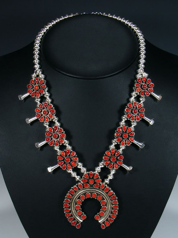 Native American Coral Squash Blossom Necklace and Earrings Set