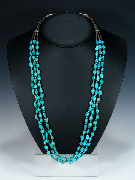 Native American Santo Domingo Turquoise Multi Strand Necklace