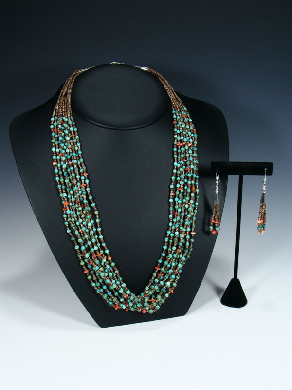 Native American Santo Domingo Turquoise Multi Strand Necklace and Earring Set
