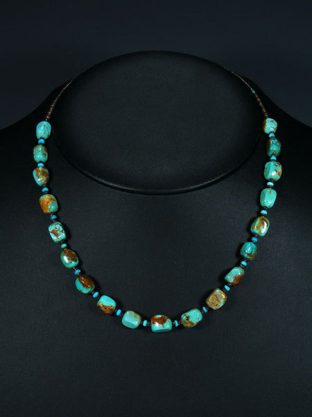 "18"" Native American Indian Jewelry Single Strand Turquoise Nugget Necklace"