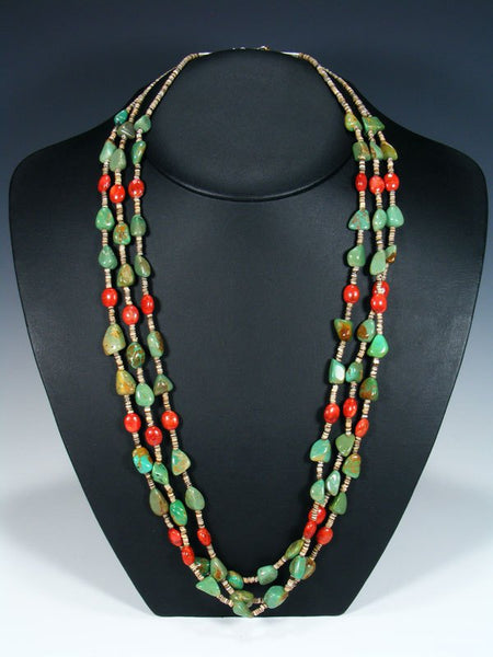Native American Indian Apple Coral and Turquoise Necklace