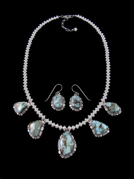 Native American Dry Creek Turquoise Necklace and Earrrings Set