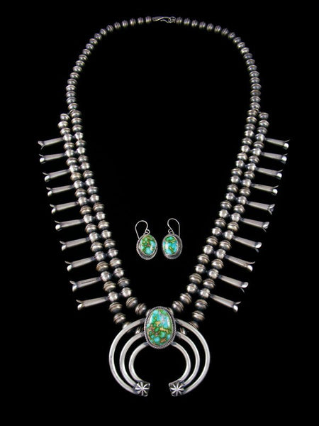 Navajo Sonoran Gold Turquoise Sterling Silver Squash Blossom Necklace Set