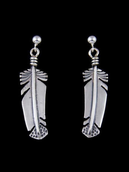 Navajo Sterling Silver Feather Post Earrings