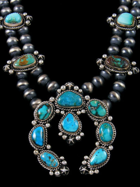 Native American Indian Sterling Silver Turquoise Squash Blossom Necklace Set