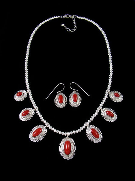 Natural Red Coral Sterling Silver Tear Drop Necklace Set