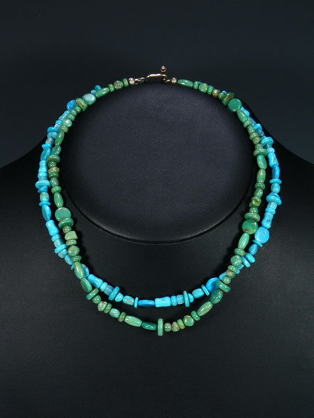 Double Strand Navajo Green and Blue Turquoise Choker Necklace