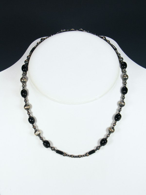 Native American Onyx and Silver Bead Necklace