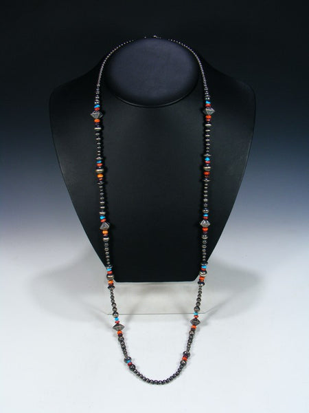 Native American Long Spiny Oyster and Turquoise Wrap Necklace