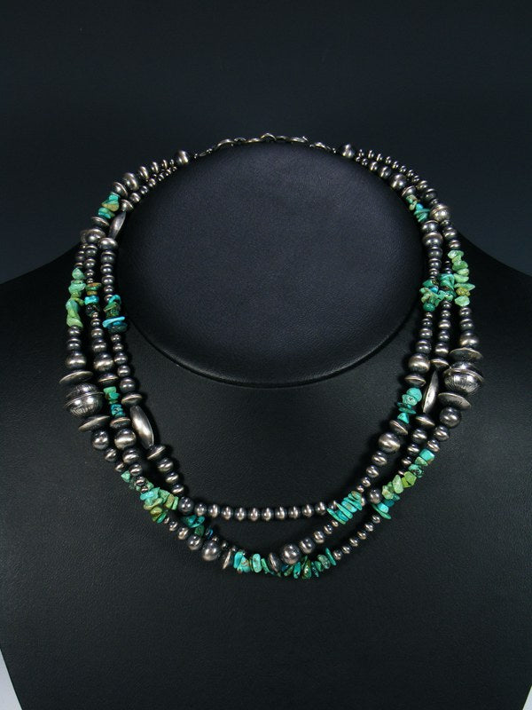 9340e681430fa Native American Turquoise and Sterling Silver Bead Necklace by Theresa  Belone at PuebloDirect.com