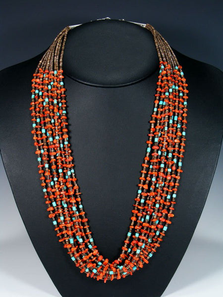 Native American Santo Domingo Multi Strand Coral and Turquoise Necklace and Earrings Set