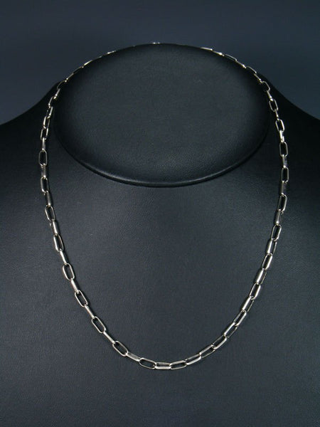 "Navajo 20"" Handmade Sterling Silver Link Chain Necklace"
