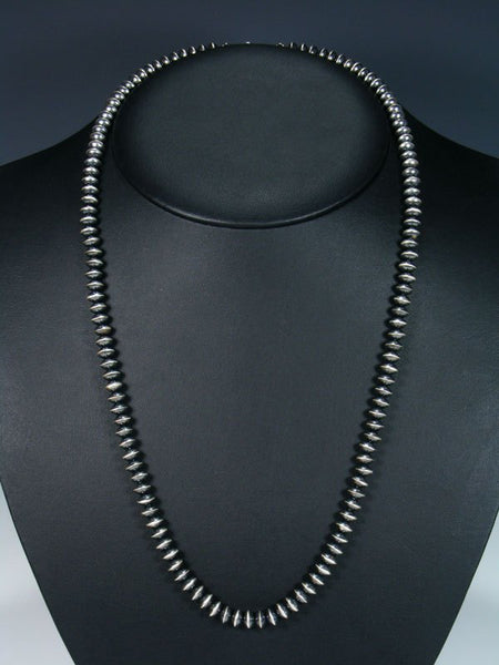 "25"" Native American Sterling Silver Navajo Pearl Bead Necklace"