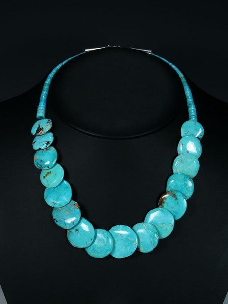 Native American Turquoise Disc Necklace and Earrings Set