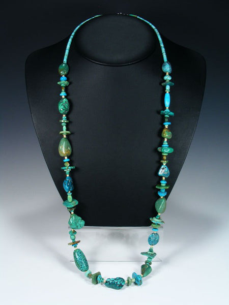 Extra Long Native American Indian Jewelry Turquoise Necklace