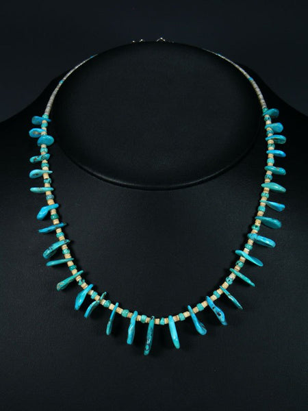 Native American Indian Jewelry Turquoise Tear Drops and Heishi Necklace