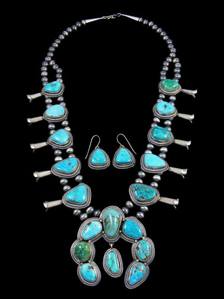 Native American Sterling Silver Sierra Nevada Turquoise Squash Blossom Necklace Set