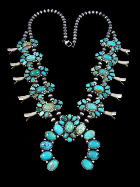 Native American Turquoise Squash Blossom Necklace