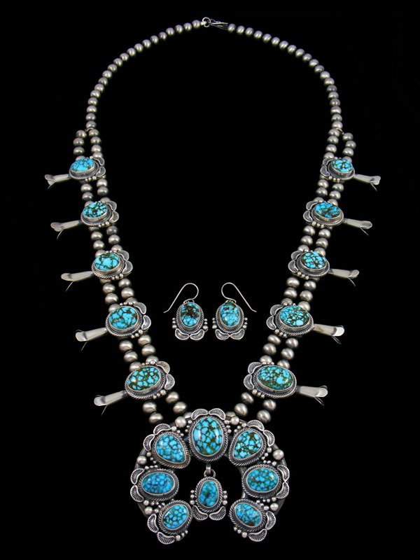 Kingman Webbed Turquoise Squash Blossom Necklace Set