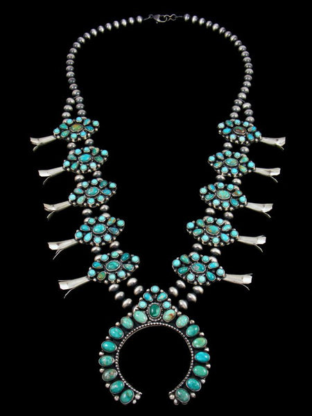 Native American Fox Turquoise Squash Blossom Necklace