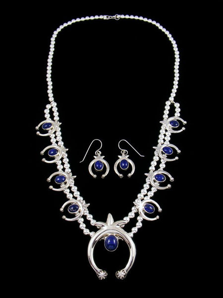 Native American Lapis Squash Blossom Necklace and Earrings Set