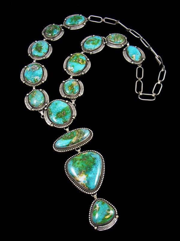 Native American Sterling Silver Sonoran Gold Turquoise Lariat Y Necklace