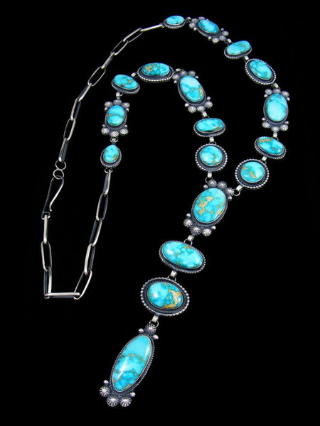 Native American Sterling Silver Sonoran Rose Turquoise Lariat Y Necklace