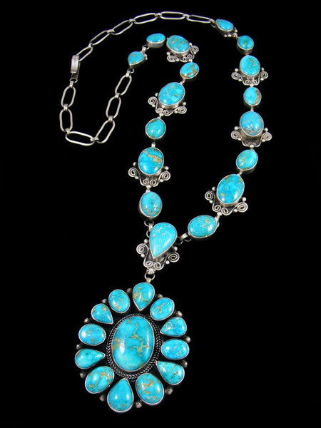 Native American Sonoran Rose Turquoise Sterling Silver Necklace