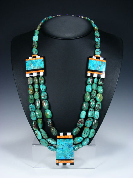 Native American Indian Santo Domingo Chunky Turquoise Mosaic Necklace Set