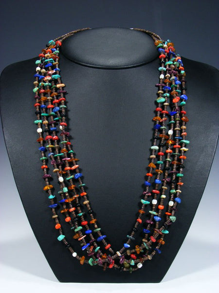 Native American Turquoise and Heishi Five Strand Necklace